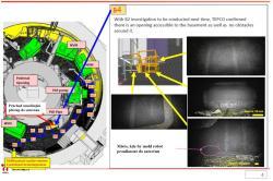 Důležitým úkolem, který první robot splnil, byla kontrola místa, kudy lze proniknout do suterénu kontejnmentu. To provedl během druhé zastávky (zdroj TEPCO).