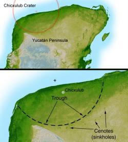 Zvýrazněný okraj kráteru Chicxulub na západním cípu poloostrova Yucatán. Snímek pořízený při radarové topografii v rámci mise raketoplánu STS-99. Kredit: NASA/JPL-Caltech; Wikipedia (volné dílo).