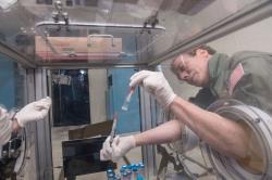 Andrew Feinberg pipetuje ve stavu beztíže. Kredit: NASA / Regan Geeseman.
