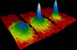 Slavné schéma Bose-Einsteinova kondenzátu (uprostřed těsně po vzniku), vytvořeného zatomů rubidia. Kredit: NIST/JILA/CU-Boulder.