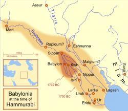 Mezopotámie pod nadvládou Babylonu, krátce po vzniku tabulky Plimpton 322. Kredit: MapMaster/Wikimedia Commons.