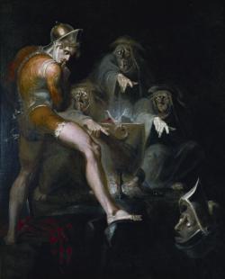 Macbeth naslouchá zjevení hlavy v přílbici. Henry Fuseli, 1793–94. Folger Shakespeare Library, Washington, volné dílo.