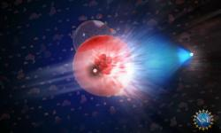 Neutrino zblazaru právě zasáhlo molekulu vledu a odpálilo mion, který letí ledem směrem doprava. Kredit: Nicolle R. Fuller/NSF/IceCube.