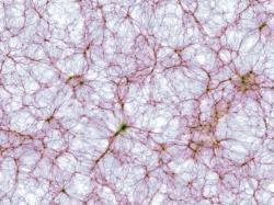 Výřez struktury vesmíru znejvětší simulace projektu IllustrisTNG. Kredit: IllustrisTNG collaboration.