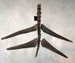 """Proslulý """"thagomizer"""" v podobě špičatých bodců na konci ocasu, které stegosauři používali k obraně před predátory. Při délce 60 až 90 centimetrů byly nepochybně velmi nebezpečnou zbraní i pro obří pozdně jurské teropody, jako byl Saurophaganax nebo Torvosaurus. Vzácné objevy patologií a zranění na fosilních kostech alosaurů dokazují, že stegosauři tento obranný """"nástroj"""" nejspíš skutečně často používali. Kredit: Kevmin; Wikipedie (CC BY-SA 4.0)"""