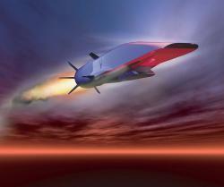 Americký experimentální scramjet letěl vroce 2013 210 sekund rychlostí přes Mach 5. Kredit: US Air Force.