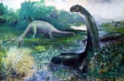Zastaralá rekonstrukce vzezření obřího sauropodního dinosaura rodu Brontosaurus (dnes již zřejmě opět platné rodové jméno) v podání Charlese R. Knighta z roku 1897. V té době se na dinosaury neprávem pohlíželo jako na klasickou ukázku evolučního neúspěchu. Převzato z Wikipedie.