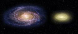 Vlevo Mléčná dráha, vpravo MACS2129-1. Kredit: NASA, ESA, and Z. Levy (STScI).