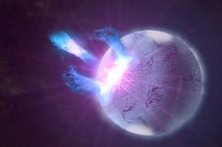 Gravitační vlny zne úplně hladké neutronové hvězdy. Kredit: NASA's Goddard Space Flight Center / S. Wiessinger