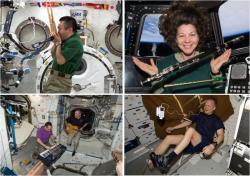 Aby si neustálý okolní hluk zpříjemnili, mnoho astronautů si na stanici vozí hudební přehrávače, někteří dokonce i hudební nástroje.  Zdroje: http://i.ytimg.com/ ; http://www.asc-csa.gc.ca/ ; http://www.armaghplanet.com/ ; http://www.viceland.com/