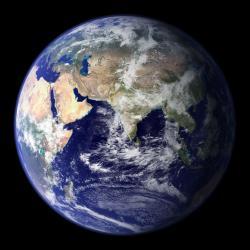 Snímek Země vrozlišení 1 000 krát 1000. Takhle nějak by mohlo teleskop se Sluncem vidět exoplanety cizích soustav. Kredit: NASA.