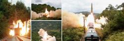 Odpálení balistické střely zvlaku. Kredit: North Korea State Media.