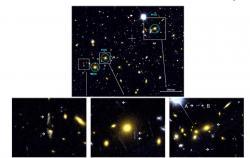 Ukázka silného gravitačního čočkování u některých nejmasivnějších galaxií z kupy Kulka - 1E 0657-558 (zdroj M. Bradáč, S.W. Allen, T. Treu et al, arXiv:0806.2320v2)