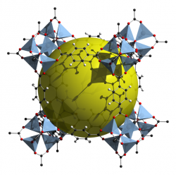 Příklad struktury MOF (Metal Organic Framework). Kredit: Tony Boehle / Wikimedia Commons.
