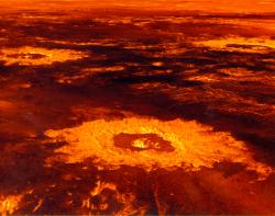Představa o části povrchu Venuše vytvořená na základě dat sondy Magellan. V popředí impaktní kráter Saskia o průměru 37,3 km, v pozadí další dva krátery. V takovémto prostředí by skutečně dinosauři (ani žádné jiné známé organismy, včetně mnohem jednodušších) přežít nedokázaly. Kredit NASA/JPL, Wikipedie