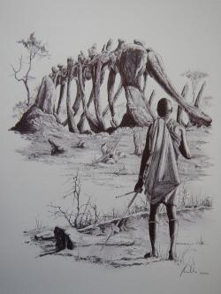 A native of present-day Tanzania, viewing the fossil bones of giant late Jurassic sauropods a century ago.  Before the arrival of European scientists, legends were spread in the area around Tendagur about giant underground cannibals, catching poor mortals in their bony hands like cages and then pulling them underground.  Is it just a coincidence that some of the local bones of the sauropod's limbs resemble giant finger joints?  Credit: Vladimír Rimbala, from the author's book Dinosaurs in Bohemia (Vyšehrad publishing house, 2017).