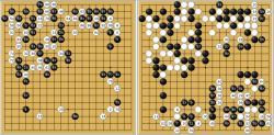 AlphaGo (�ern� kameny) versus �Fan Hui, �tvrt� hra. 8. ��jna lo�sk�ho roku Fan Hui rezignoval.