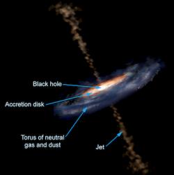 Aktivní galaktické jádro, včetně oblasti schladným prachem a plynem. Kredit: Aurore Simonnet, Sonoma State University.