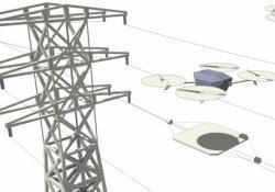 Dobíjecí stanice pro drony by se mohly objevit na elektrických vedeních. Kredit: Imperial College London.