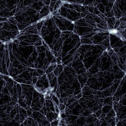 Simulace Illustris, zobrazení temné hmoty. Kredit: Markus Haider / Illustris collaboration.