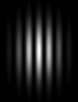 Simulovaný dvojštěrbinový experimentu. Kredit: Fffred / Wikimedia Commons.