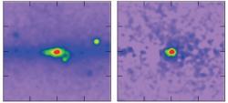 Záření gama pozorované sondou FERMI. Nalevo jsou experimentální data a napravo situace po odečtení známých zdrojů záření gama (zdroj T. Daylan et al., FERMI, NASA)