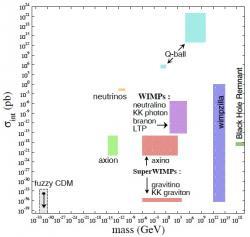 Kandidáti na temnou hmotu (verze zroku 2007). Axion zeleně, zhruba uprostřed. Na horizontální ose je hmotnost, vertikálně účinný průřez. Kredit: DMSAG report (2007).