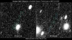 Dva objekty, které by se mohly stát druhým cílem sondy New Horizons pohledem Hubbleova teleskopu.  Zdroj: http://spaceflightnow.com/