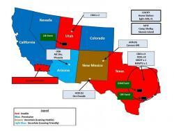 Mapa vojenského cvičení Jade Helm 2015, kvůli které omdlévali konspirátoři. Kredit: U.S. Army Special Operations Command.