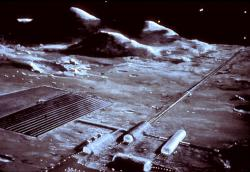 Railgun na Měsíci. Kredit: Space Studies Institute