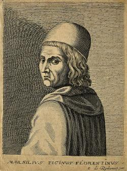 Marsilio Ficino, rytina z 17. století. Kredit: Wellcome Collection gallery via Wikimedia Commons.