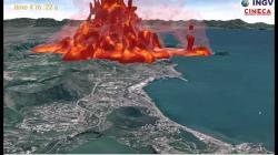 Simulace pliniovské exploze Campi Flegrei. Kredit: INGV.