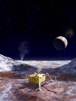 Umělecká představa landeru na Europě. Zdroj: https://www.nasa.gov