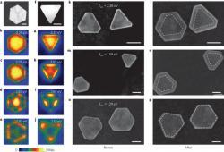Plazmony řízená syntéza nanočástic zlata. Kredit: Zhai et al. (2016), Nature.