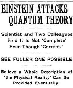 1935: Einstein vede mediální válku proti kvantové mechanice. Kredit: Wikimedia Commons.