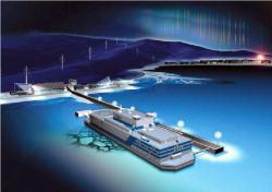 Představa malíře o vzhledu plovoucí jaderné elektrárny Akademik Lomonosov.