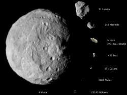 Asteroidy. Jak těžké by je bylo rozbít? Kredit: NASA/JPL-Caltech/JAXA/ESA.