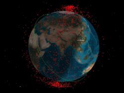 Vesmírný odpad vytvořený čínský protisatelitním testem vroce 2007. Kredit: CSSI.