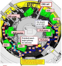 Schéma cest obou robotů. Cesta prvního robota je označena tmavě modře, cesta druhého pak světle modře (15. dubna) a červeně (16. dubna), (zdroj TEPCO).