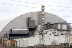 Sarkofág je na svém místě nad zničeným čtvrtým černobylským blokem (EBRD).