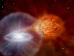 Exploze novy ve dvojhvězdě RS Ophiuchi. Kredit: NASA / David A. Hardy & PPARC.