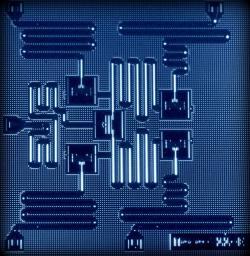 Schéma kvantového počítača s piatimi supravodivými qubitmi od IBM