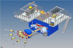 Schéma nové továrny na supertěžké prvky SHE factory (zdroj JINR Dubna).