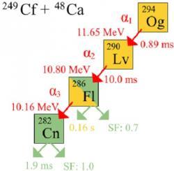 Schéma rozpadu izotopu oganesson 294 (zdroj Wikipedie).