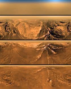 Série snímků pořízených při přistávání modulu Huygens (zdroj NASA/ESA).