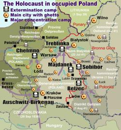 Vyhlazovací tábory vPolsku. Kredit: Poeticbent / Wikimedia Commons.