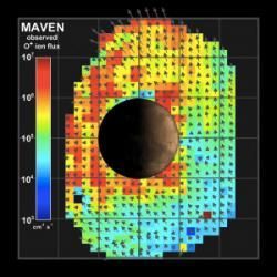 Vizualizace naměřených dat – konkrétně jde o únik negativních iontů kyslíku. Zdroj: http://svs.gsfc.nasa.gov/