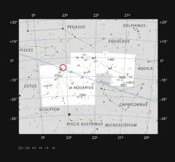 TRAPPIST-1 vsouhvězdí Vodnáře. Kredit: ESO/IAU and Sky & Telescope.