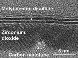 Průřez rekordně malým tranzistorem velektronovém mikroskopu. Kredit: Qingxiao Wang / UT Dallas.