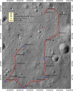 Trasa, kterou urazil Nefritový králík na Měsíci (zdroj ChAS)